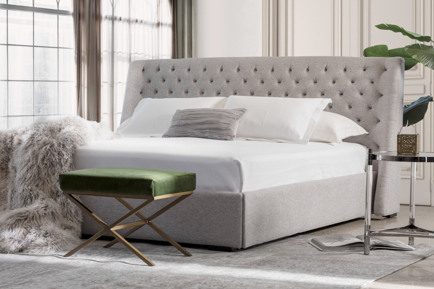 Jacob Upholstered Bed With Tufted Headboard Maison Corbeil