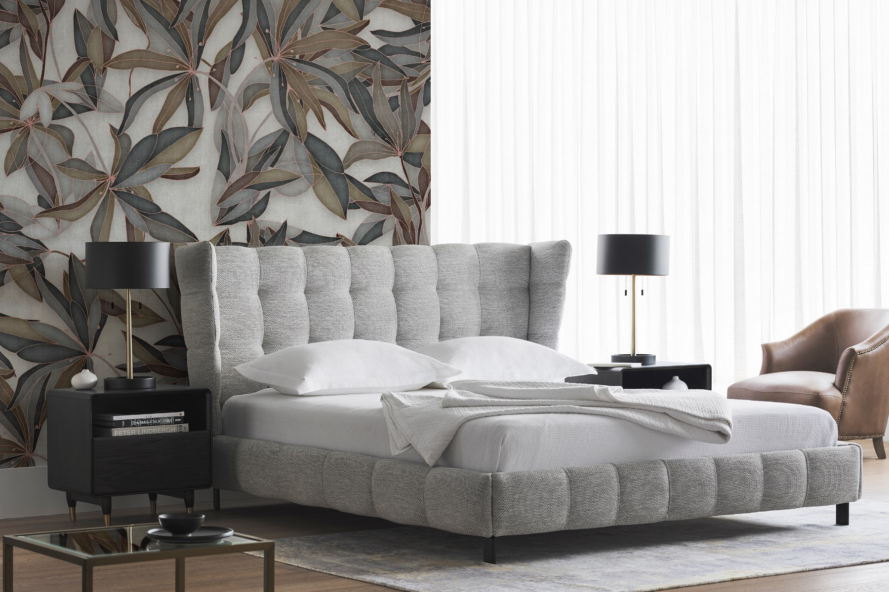 Mario Upholstered Bed With Tufted Headboard Maison Corbeil
